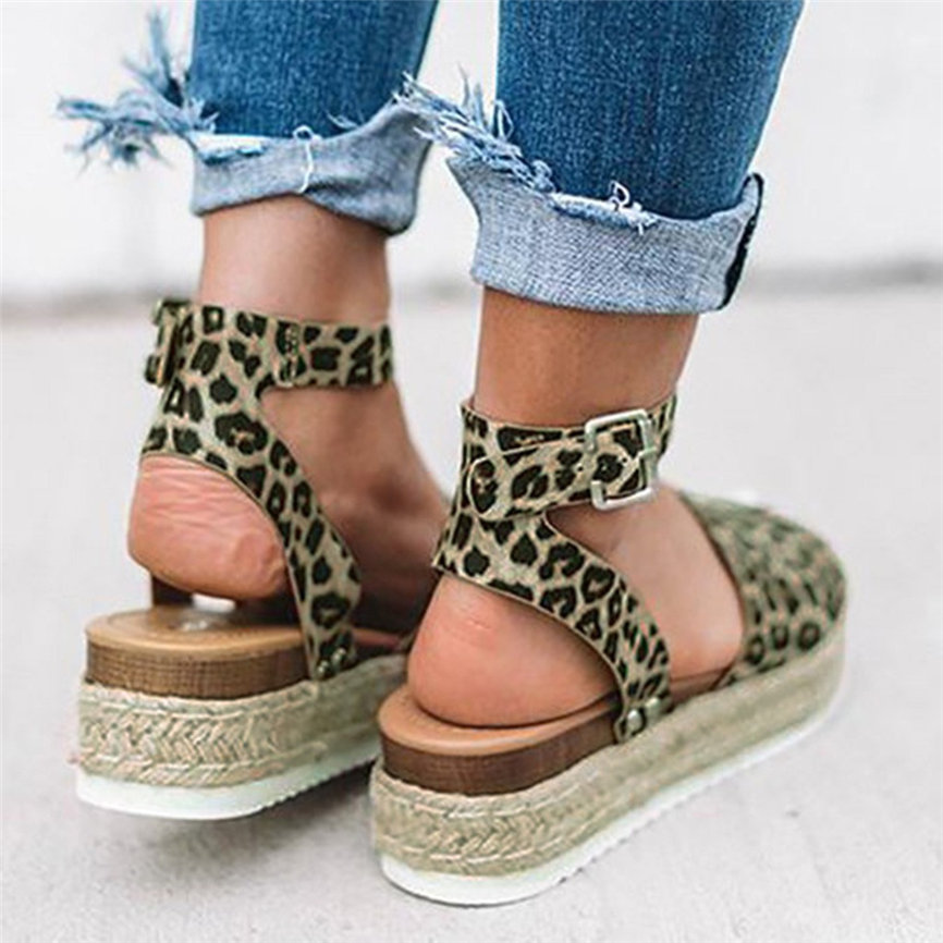 Sandals Shoes Strap Wedges Leopard Peep-Toe Summer Ladies New Retro Fashion for Buckle