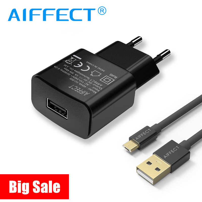 Aiffect Mobile Phone Charger 1A 2A USB Travel Charger Portabel Adaptor Dinding Uni Eropa Plug Hitam Putih untuk iPhone Sansung Xiaomi huawei