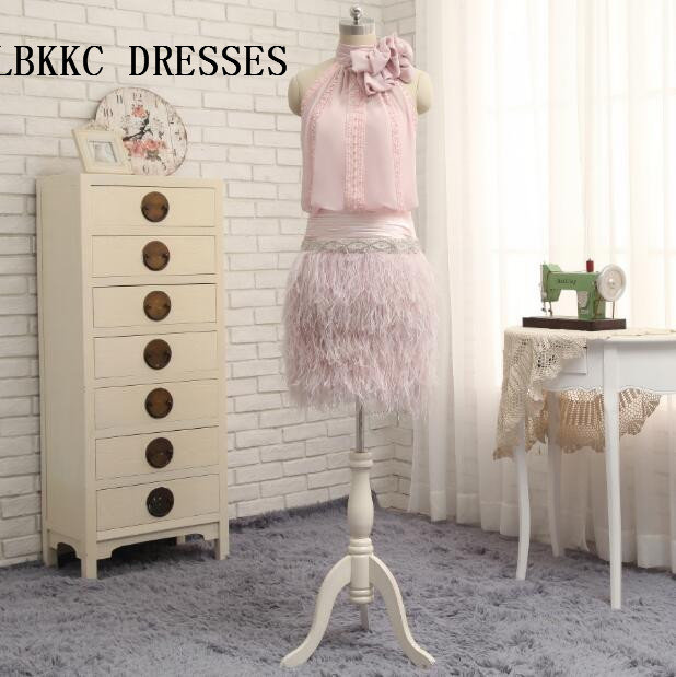 Pink   Cocktail     Dresses   Vestido Festa Curto Knee Length Chiffon With Feather Fashion Party Gown