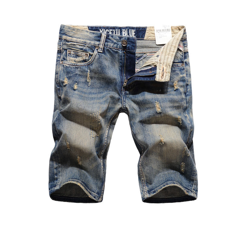Italian Style Retro Design Men Jeans Shorts Knee Length Summer Short Ripped Jeans For Men Brand Denim Shorts High Quality цена 2016