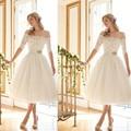 Vintage Tea Length 1/2 Sleeves Lace Arabic Wedding Dress 2016 Vestido de noiva Robe de mariage off shoulder Bridal Dress Gowns