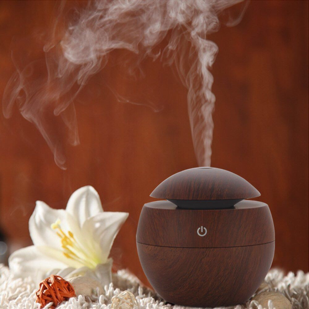 130ml Aroma Essential Oil Diffuser Ultrasonic Air Humidifier with Wood Grain electric LED Lights aroma diffuser for home kbaybo aroma essential oil diffuser ultrasonic air humidifier with wood grain electric led lights aroma diffuser for home