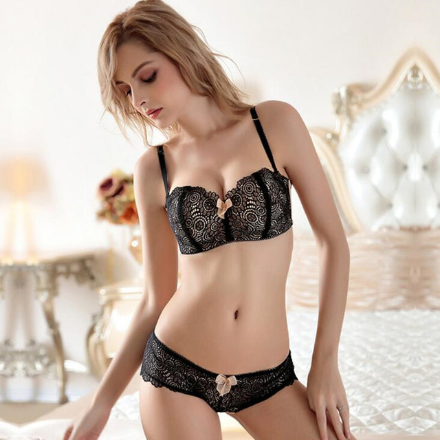 d2df43587f5b 1/2 Half Cup Bow Underwear with Lace Transparent Panties Comfort Wire Free  Bra and Brief Sets Young Girls Thin Bra Set