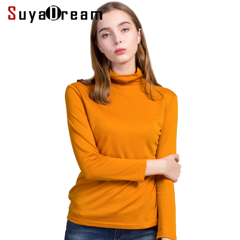 SuyaDream Women Wool Turtleneck Pullovers 30%Silk 70%Wool Slim Fit Solid Plain Knitted Sweaters 2019 Autumn Winter Knit Wear