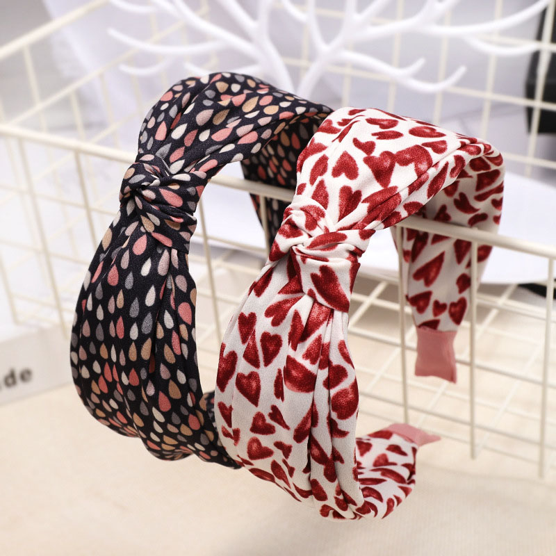 Bohemian Heart Pattern Print Satin Center Knot  Hairband Wide Knotted Headband Hair Accessories