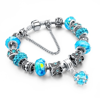 Women's Tibetan Silver Charm Bracelet Bracelets Jewelry Women Jewelry Metal Color: 278 blue