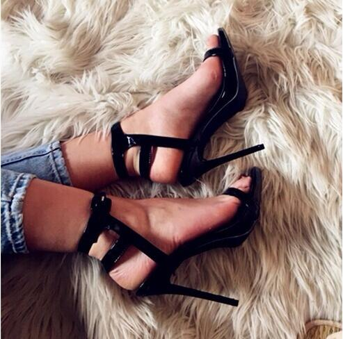 2017The Newest Fashion Concise Black Patent Leather Buckle Women Sandals Party Hollow Out Stiletto High Heels Ladies Pumps Shoes denim zipper hollow worn stiletto womens sandals