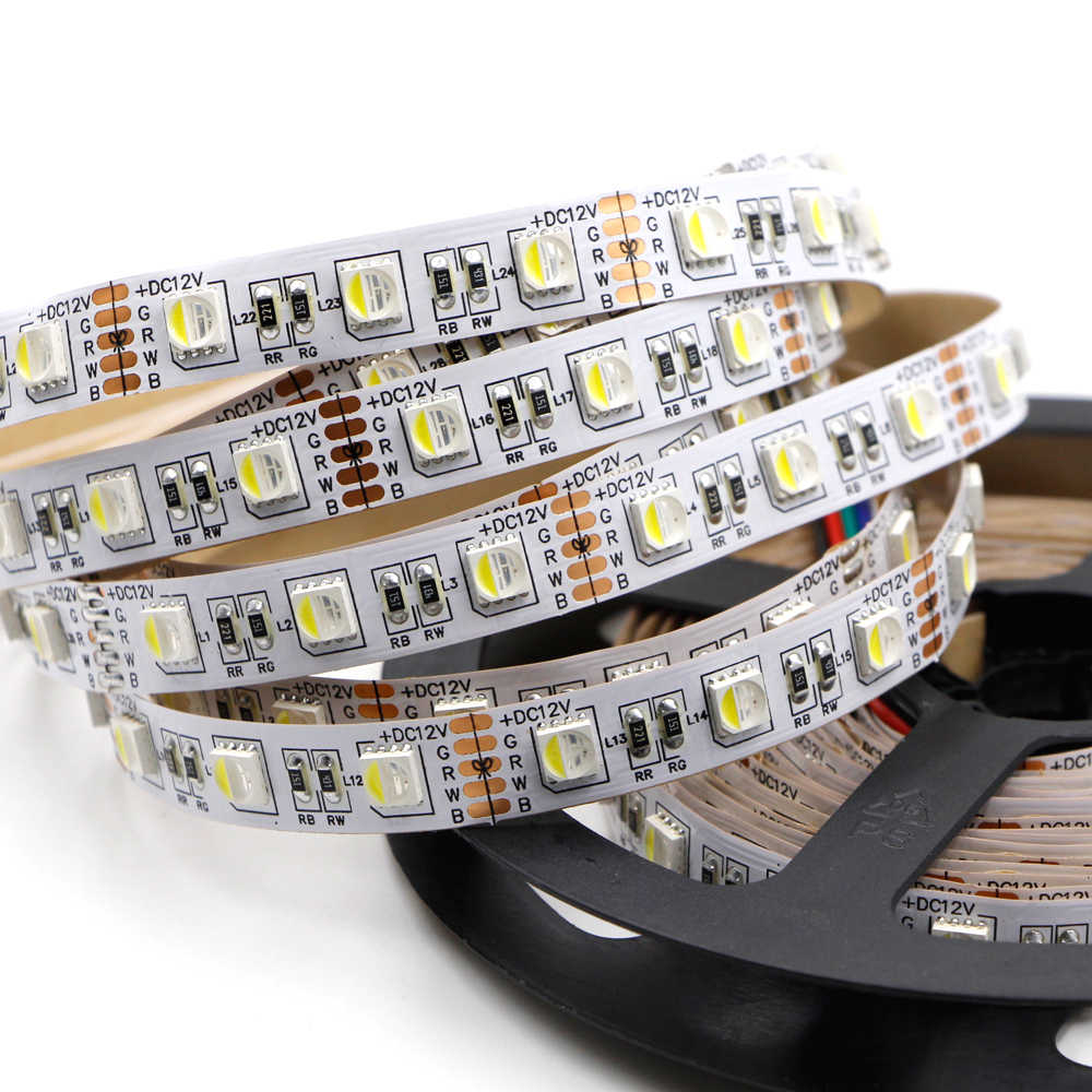 Lumière de bande de LED de 1 m 5 m 4in1 RGBW RGBWW 5050 DC 12 V 24 V lumière LED Flexible rvb + blanc/rvb + corde blanche chaude de bande de Diode 60 LED s/m