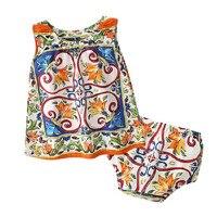 Baby girl's summer fashion print suit Children set