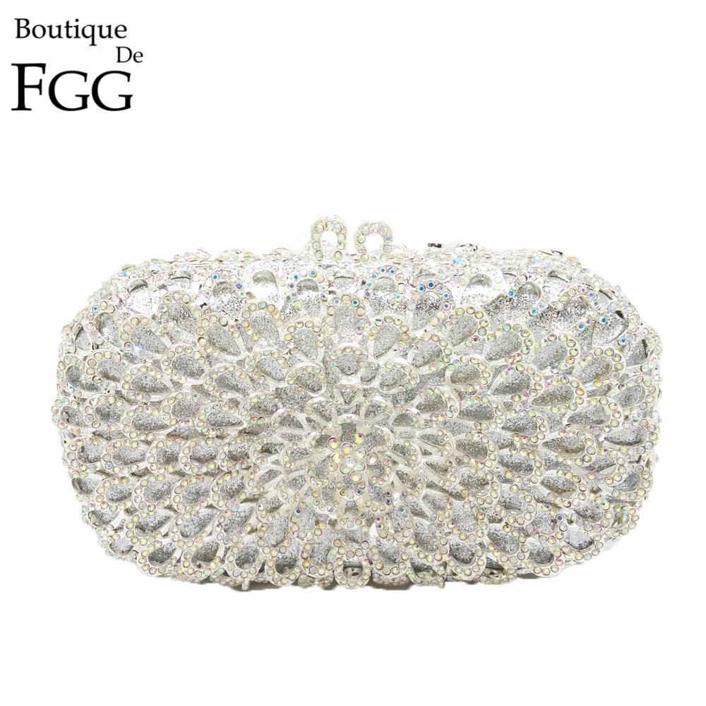 ФОТО Gift Box Brand Women Clutches Crystal AB Metal Silver Evening Clutch Bags Wedding Dress Bridal Handbags Bolsa Festa de Noche