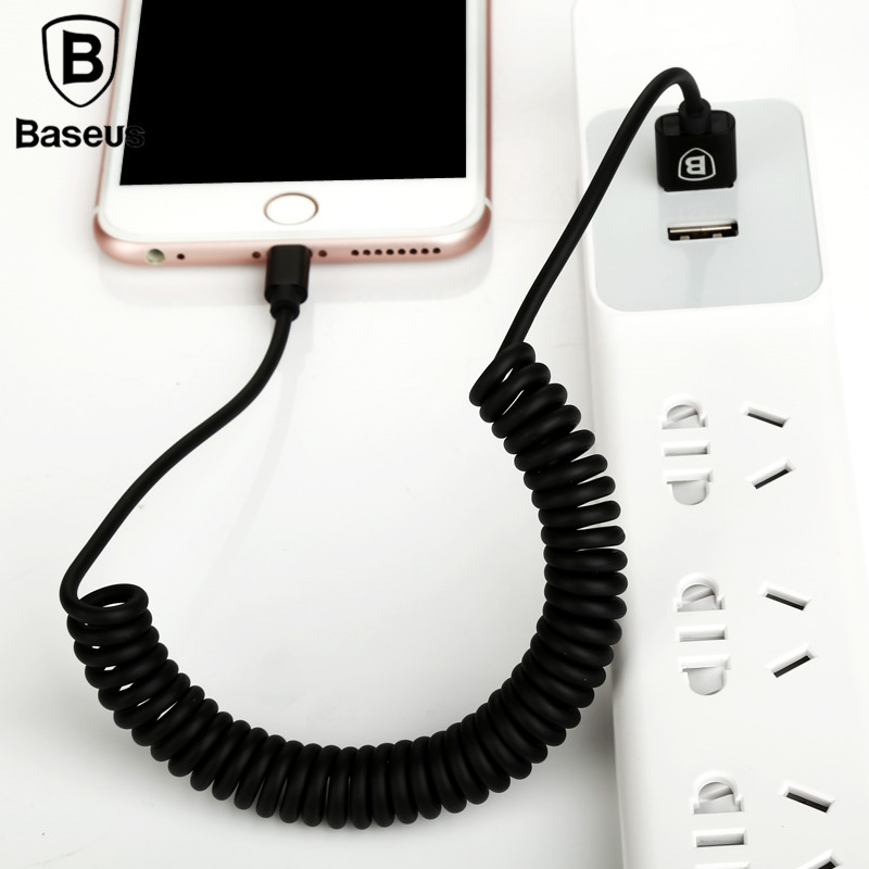 Baseus 2Pcs/Lot 1.6M 8Pin Flexible Elastic Stretch USB Cable Fast Charging Cable For iPhone 8 X iPad TPU Mobile Phone Data Cable