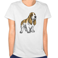 Basset Hound Transparent Custom Cotton Print O-Neck Short Sleeve White T Shirt Woman Sexy Slim Fit Die Dye T-Shirt