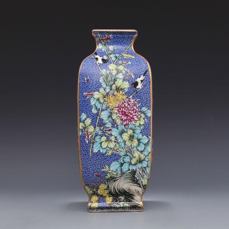 Jingdezhen Antique céramique émail Vase carré Vases fleurs et oiseaux motif Antique Ming et Qing porcelaine