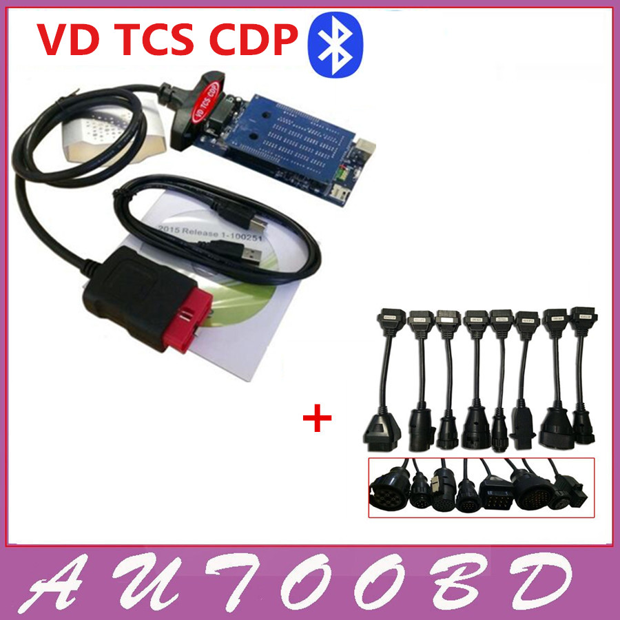 DHL free!! VD TCS CDP+Pro with Bluetooth Scan tool 2015.R3 Software with Carton Box cars trucks diagnostic tool +8 Truck cables billionaire мокасины