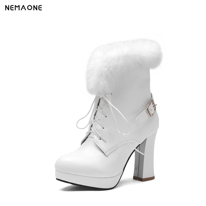 NEMAONE Brand Designers 2016 New Spring Autumn Women Shoes Black High Heels Boots Lacing Platform Ankle Boots Chunky Size 35-43 new sexy spring autumn big button decoration spring autumn women shoes black high heels boots platform ankle boots size 34 40