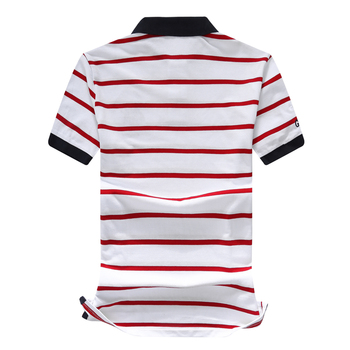 Good quality Summer Mens short sleeve brand horse striped polos shirts casual mens lapel polos fashion mens clothing slim tops 1