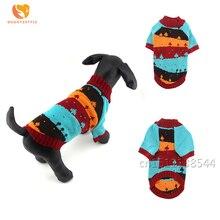 Зимняя собачья одежда в полоску хит цвет Рождественская елка для питомцев свитер пальто для щенка кошки домашние животные одежда для маленьких собак Тедди Чихуахуа