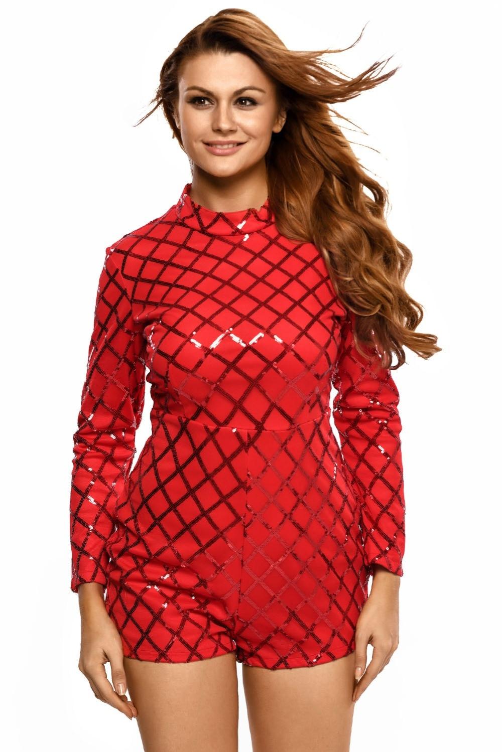 Adogirl Red Sequins Rompers Plus Size Women Plaid Jumpsuits 2016 Autumn  Lady Turtleneck Playsuits Playsuits One - Popular Sequin Turtleneck Jumpsuit-Buy Cheap Sequin Turtleneck