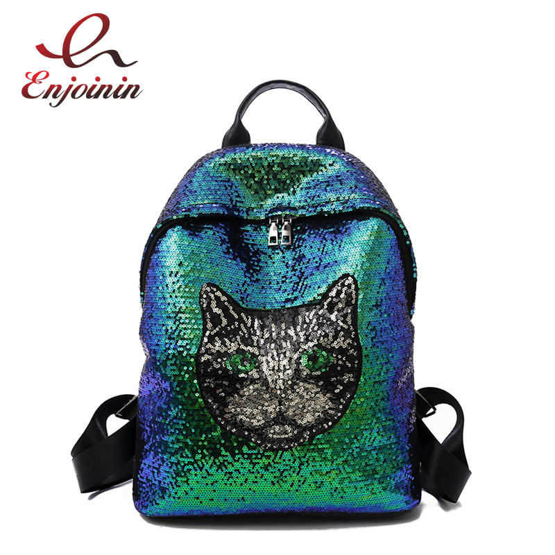 Trend Sequin Cute Cat Pattern Gradient Color Female Casual Backpack Girl's Travel Backpack School Bag For Women Backpaack school bag travelling casual backpack 9295 character print graphic gradient color