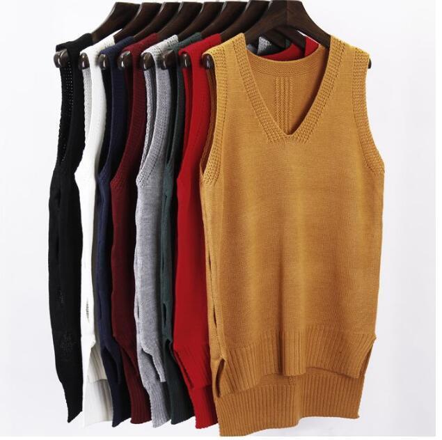 V-collar chaleco chaqueta chaleco del suéter Flojo Pullover