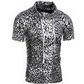 2016 Más Nuevos hombres de la Moda Con Capucha camiseta de Color Oro plata Etapa Brillando Camiseta Para Hombres de verano de Manga Corta Con Capucha Tees