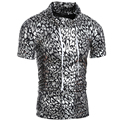 2016 Newest Fashion Men's Hooded T shirt  Gold silver Color Shinning T-shirt For Men summer Short Sleeve  Stage Hoody Tees