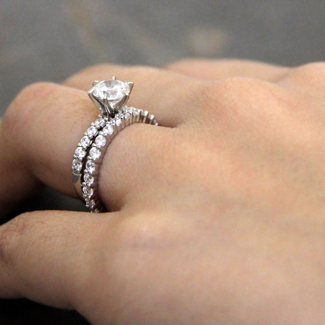 2.2CTW Brilliant Cut Simulated Diamond 925 Sterling Silver with Gold Wedding Engagement Ring