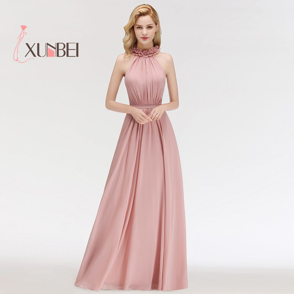 Robe demoiselle d'honneur Ruffled High Neck Dusty Pink Lace   Bridesmaid     Dresses   Long 2019 A Line Chiffon Prom   Dresses   Party Gowns