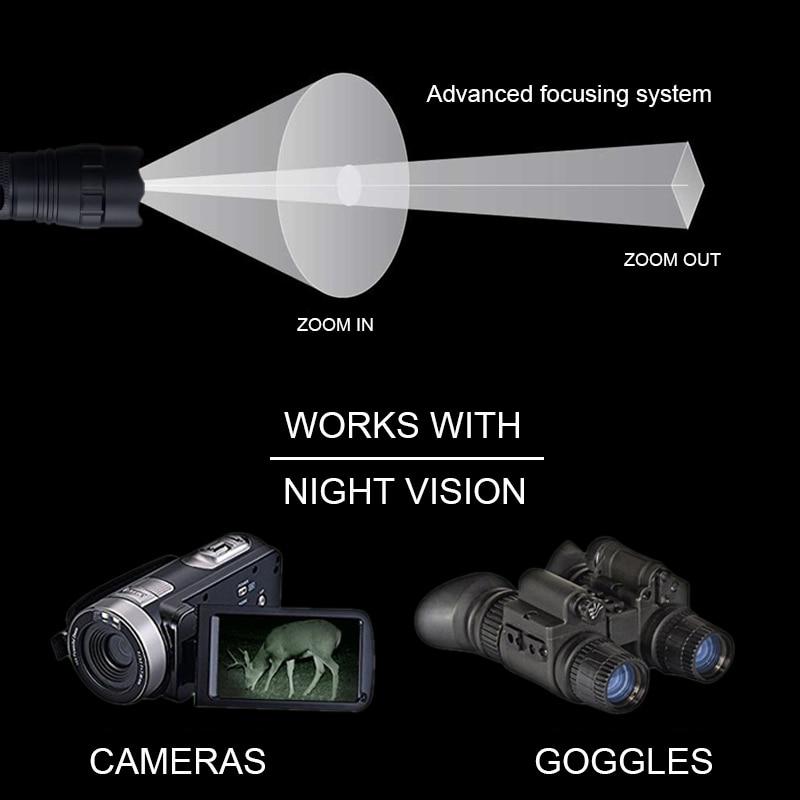 T50 zoomable luz infravermelha caça tocha preto