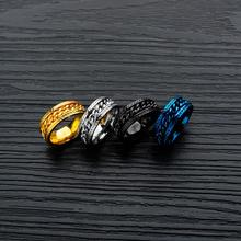 Misheng New Fashion Geometric Ring High Quality Stainless Steel Inlaid Chain Domineering Punk Jewelry Accessories 8mm wide