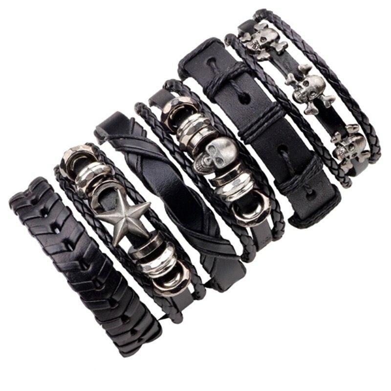 6pcs/set Leather Bracelet Men Multilayer Punk Skull Star Charm Wrap Bracelets for Women Vintage Bracelets & Bangles Men
