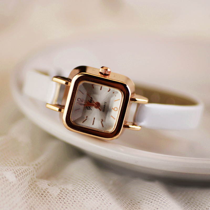 Classic Pretty Square Rose Gold Leather Quartz Wristwatches Watch Hours for Women Ladies Female Black White Pink OP001 ободки pretty mania ободок