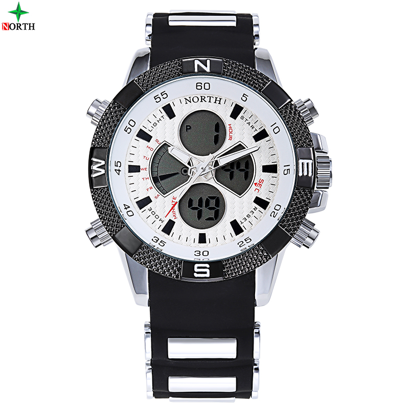 NORTH Male Sport Wristwatch 2016 Casual Silicone Strap LED Digital Analog Watch Military Waterproof Quartz Round