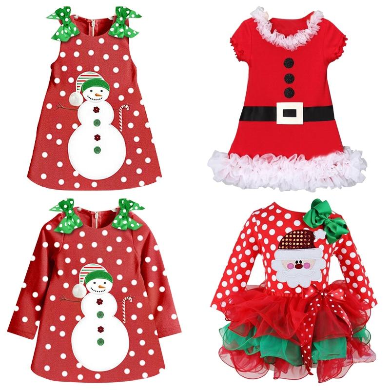 Winter Fancy Baby Girl Xmas Santa Tutu Red Dress Girl's Merry Christmas Gift Festival Kids Tulle Dresses For Girls Party Vestido