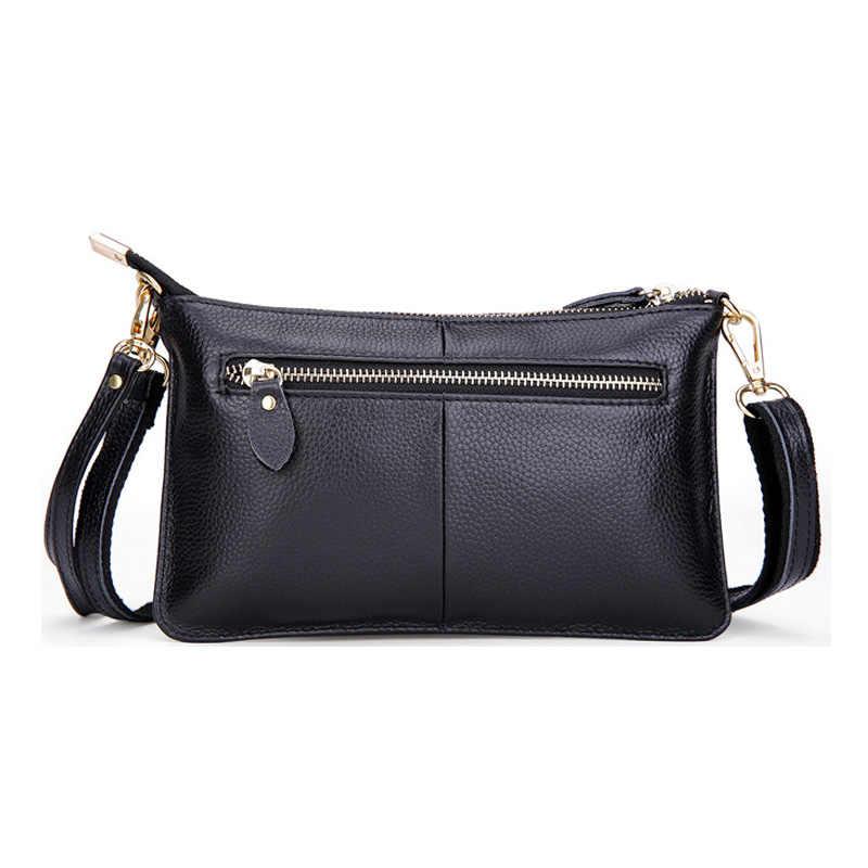 Bolsa de couro legítimo feminina, bolsa tira-colo com envelope crossbody para mulheres 100%