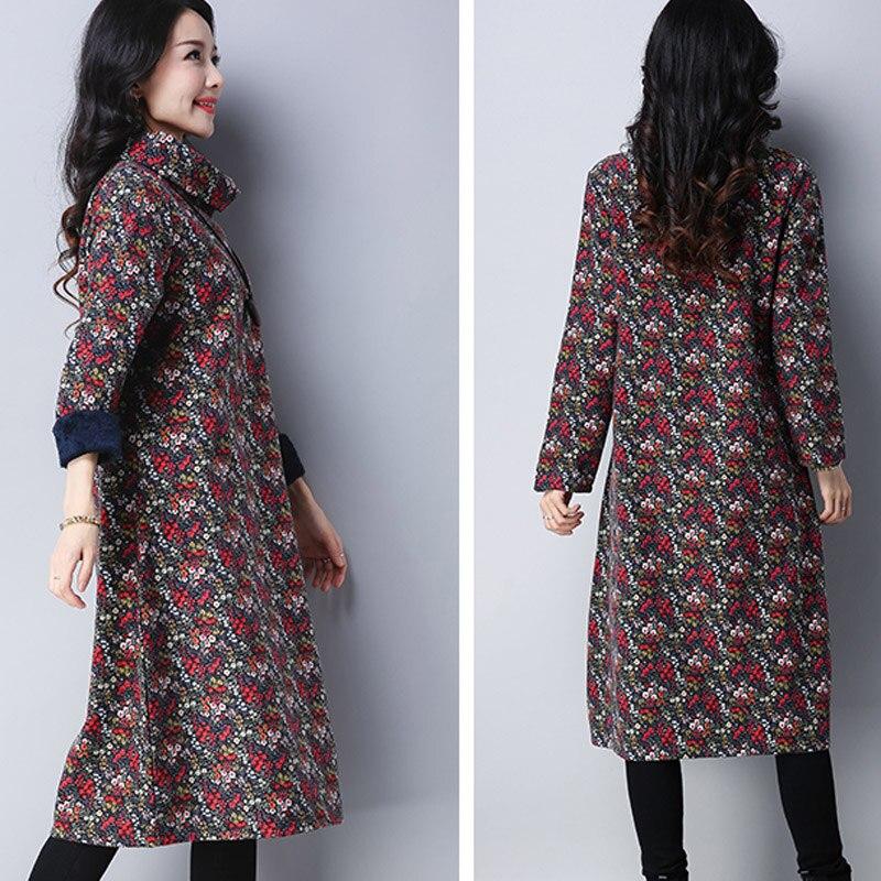 Dames chaud pull en cachemire robe dames grande taille à manches longues lâche tunique dame voguee col roulé Floral pull