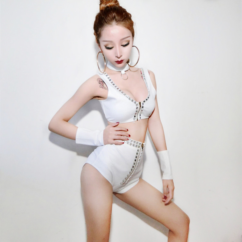Sparkly Crystals female costumes Singer stage DJ DS performance clothes Dancer groups jazz stage outfits white sexy Shorts suits
