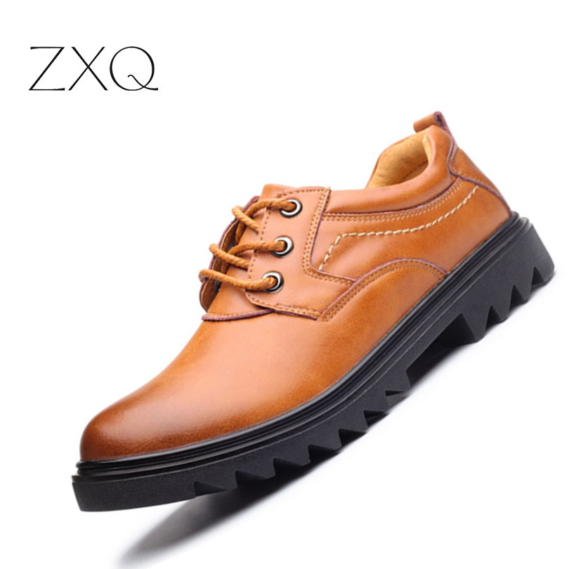ZXQ Brand Handmade New Winter Men Oxford Shoes Solid Color High Quality Retro British Style Men Flats Leather Shoes zxq brand handmade new winter men oxford shoes solid color high quality retro british style men flats leather shoes
