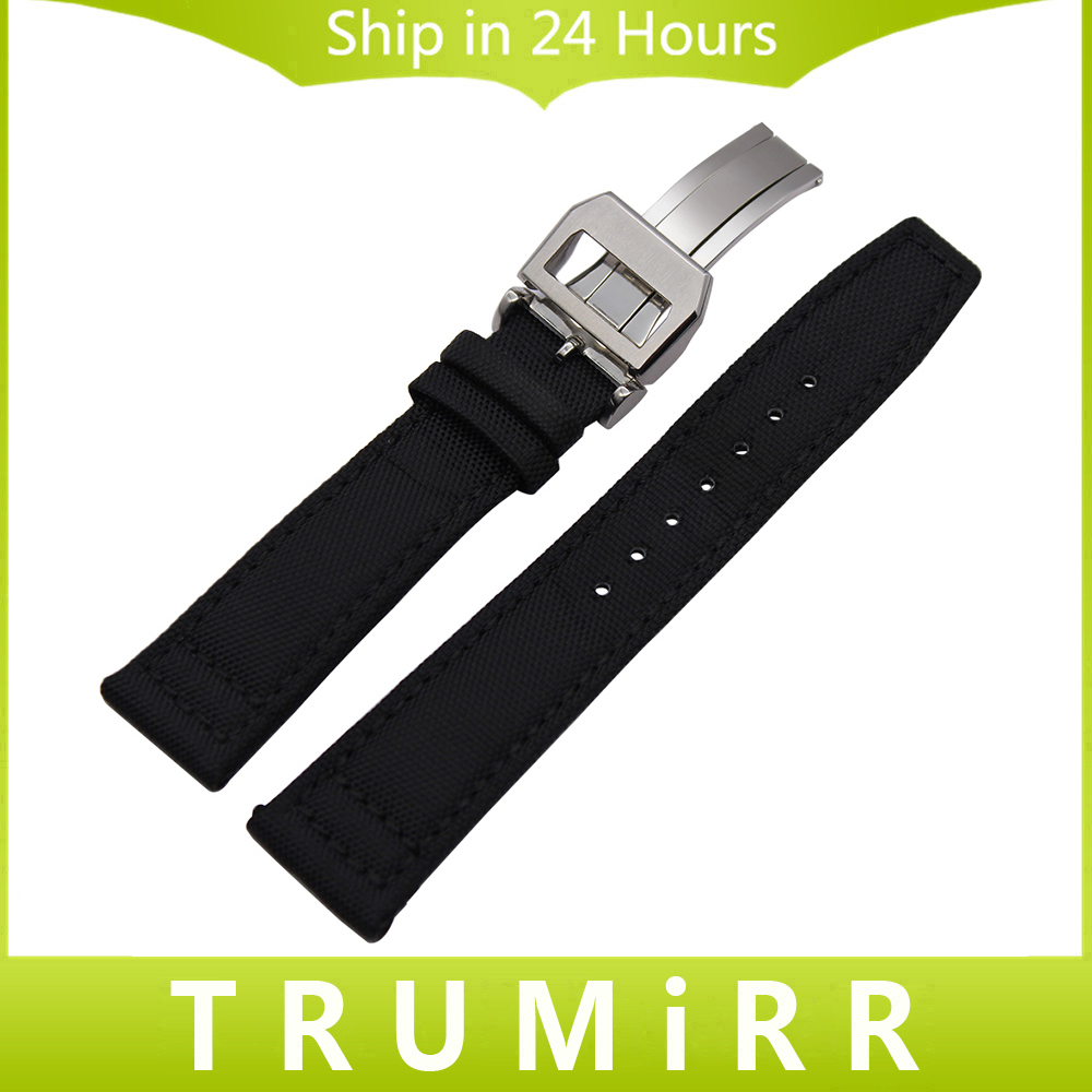 Nylon Genuine Leather Watchband 20mm 21mm 22mm for Pilot Portugieser Watch Band Stainless Steel Buckle Strap