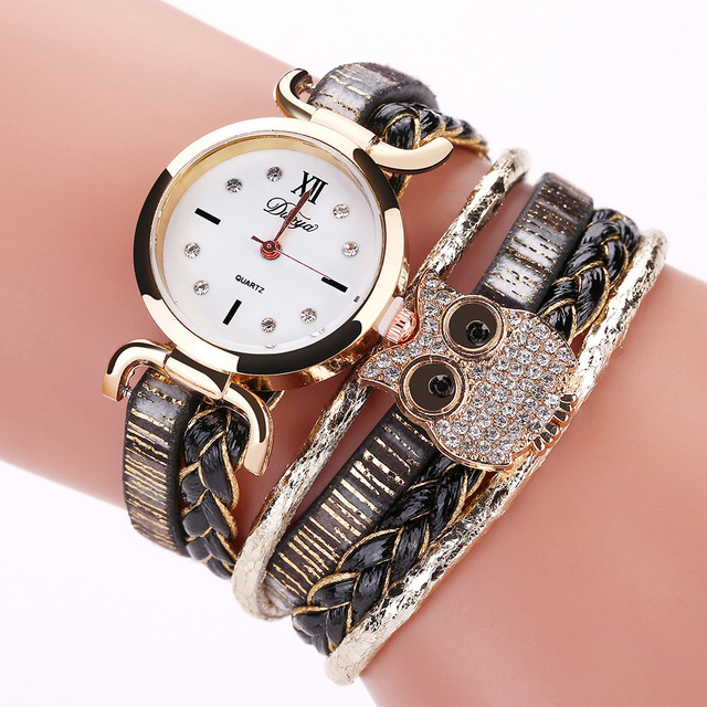 Duoya Vintage Women's Watches Crystal Owl Analog Quartz Wrist Watch Female Ladie