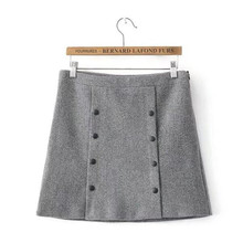 double breasted wool winter skirt  women mini skirt women woolen skirts womens saia midi gray color saias faldas mujer jupe