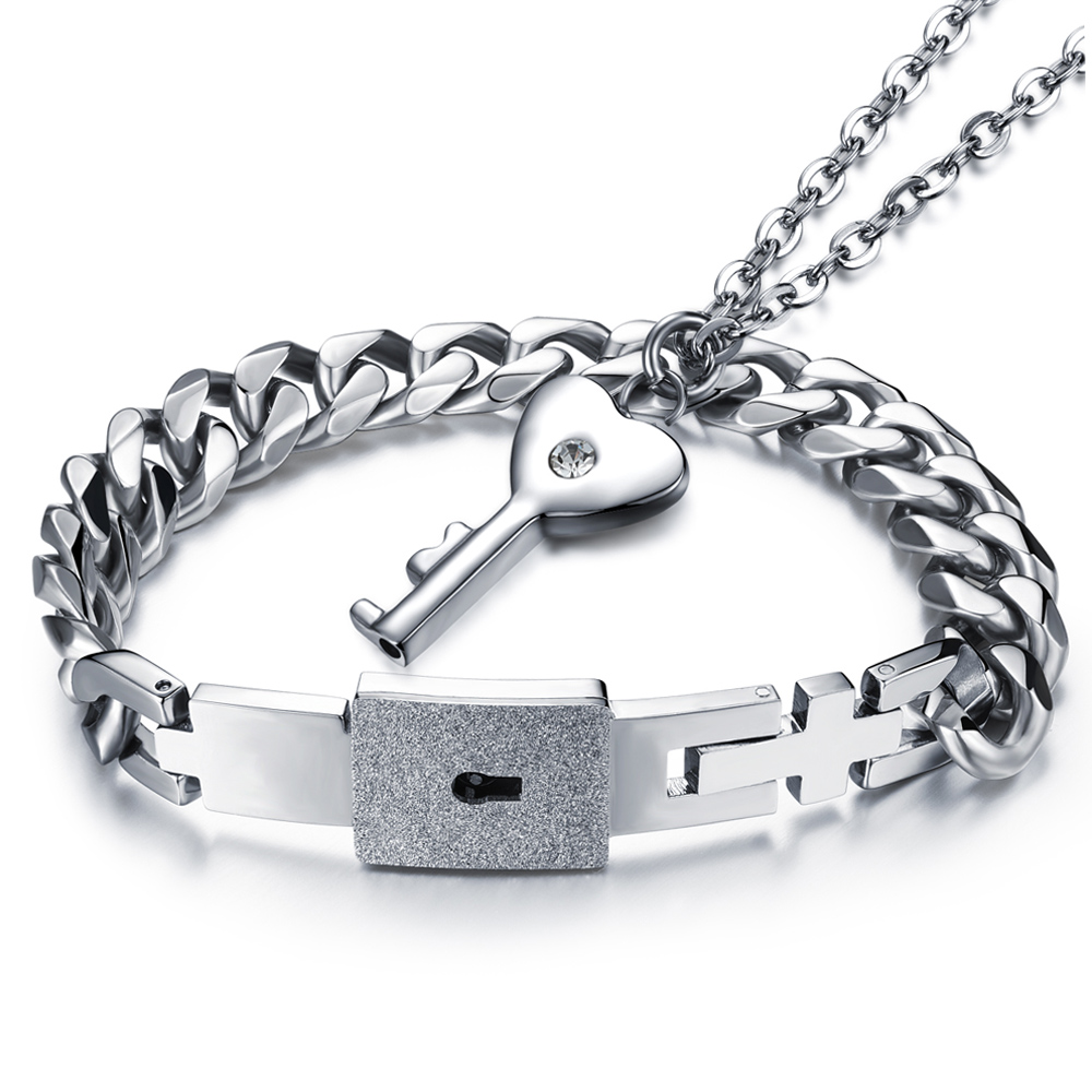 Bracelet Jewelry-Sets Stainless-Steel Necklace Key-Pendant Gift-Accessories Women Fashion