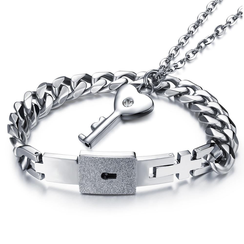 Couple Jewelry Sets Stainless Steel Men Bracelet+women Necklace Key Pendant Lovers Love Heart Lock Gift Accessories