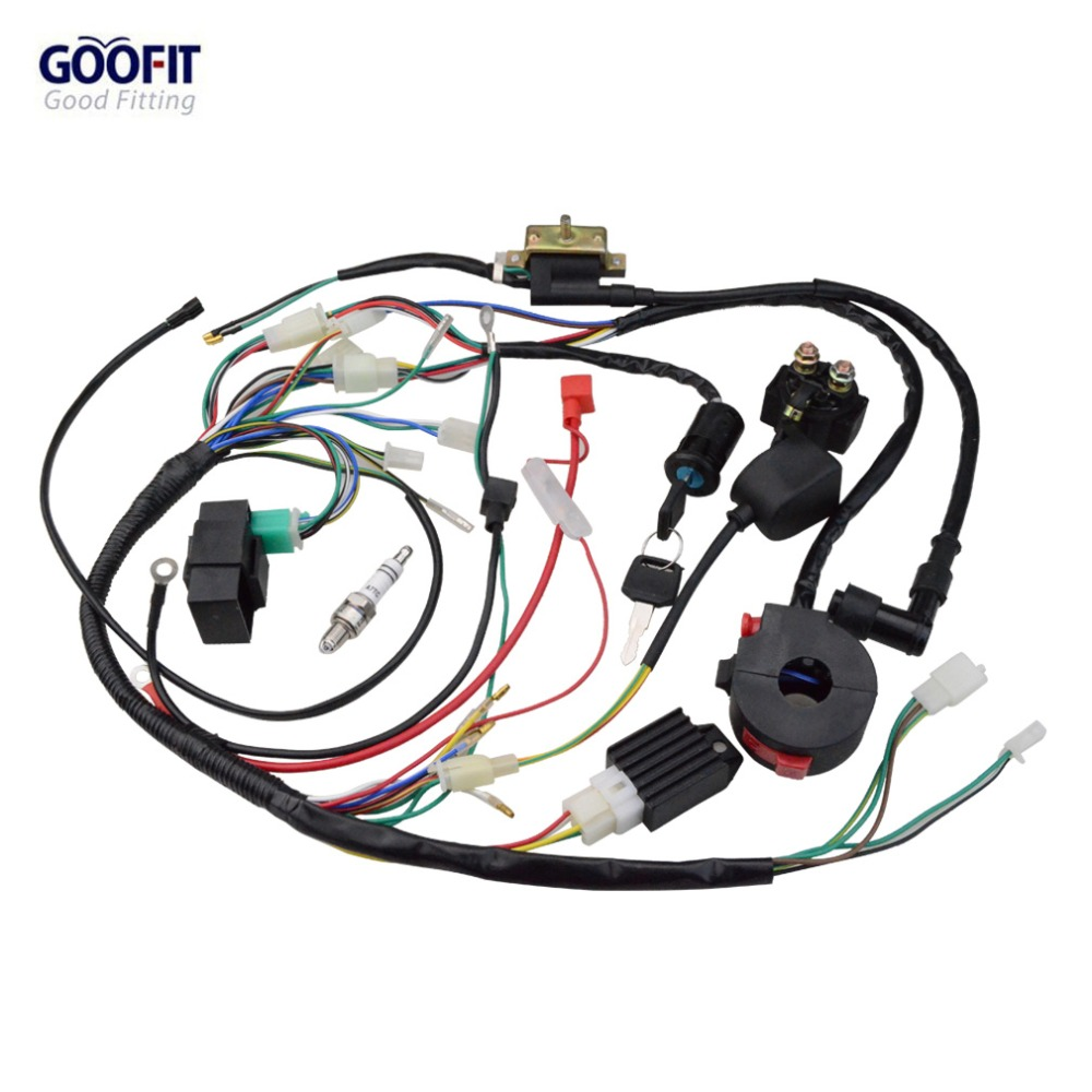 small resolution of goofit full electrics wiring harness coil cdi atv quad pit dirt bike buggy go kart spark