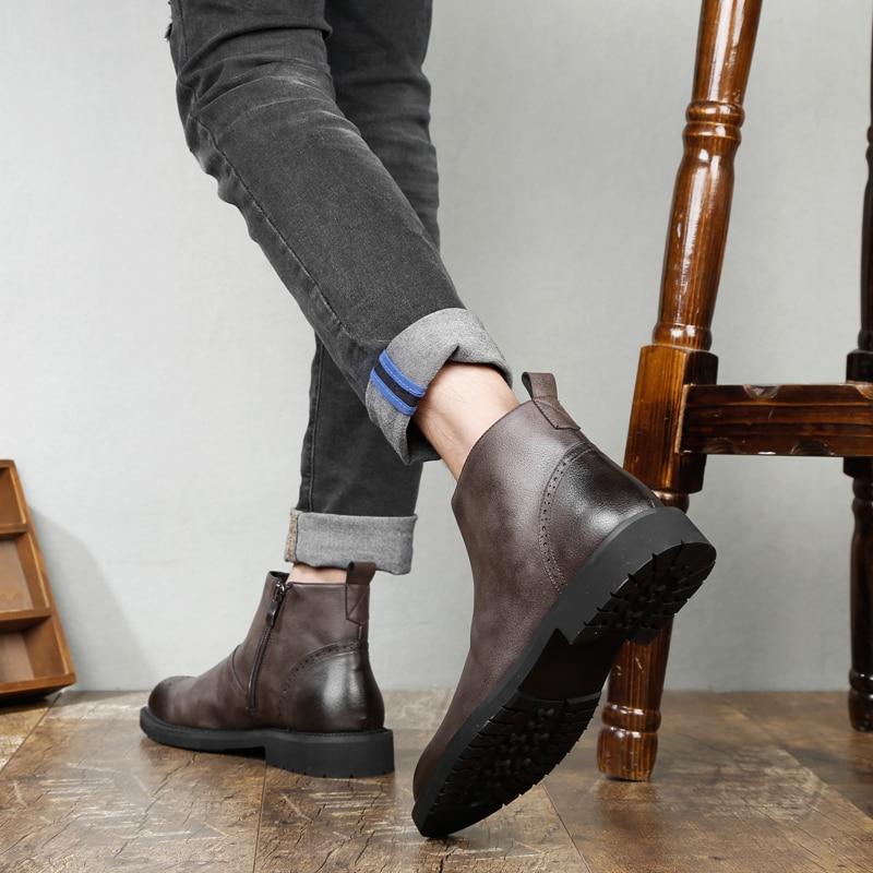 Black Vintage En Hommes Richelieu brown Bottes Mode Cuir Martin 2018 Respirant 44 Sur Véritable Automne Size38 Cheville Botas Glissent qT7HEp