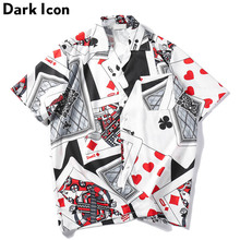 Dark Icon Porker King Printed Retro Street Shirts Men 2019 Summer Turn-down Collar Hip Hop Shirt Mens Top