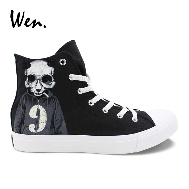 Wen Hand Painted Shoes Panda Skull Smoke Sweater Numbers 7 and 9 High Top Canvas Shoes Unisex Designs Black Sneakers Skateboard