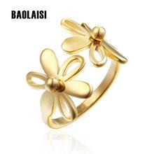 Baolaisi moda doble flor anillo de oro astilla Anillos de color para las  mujeres de acero inoxidable boda Anillos partido joyerí. 2539f85335c9