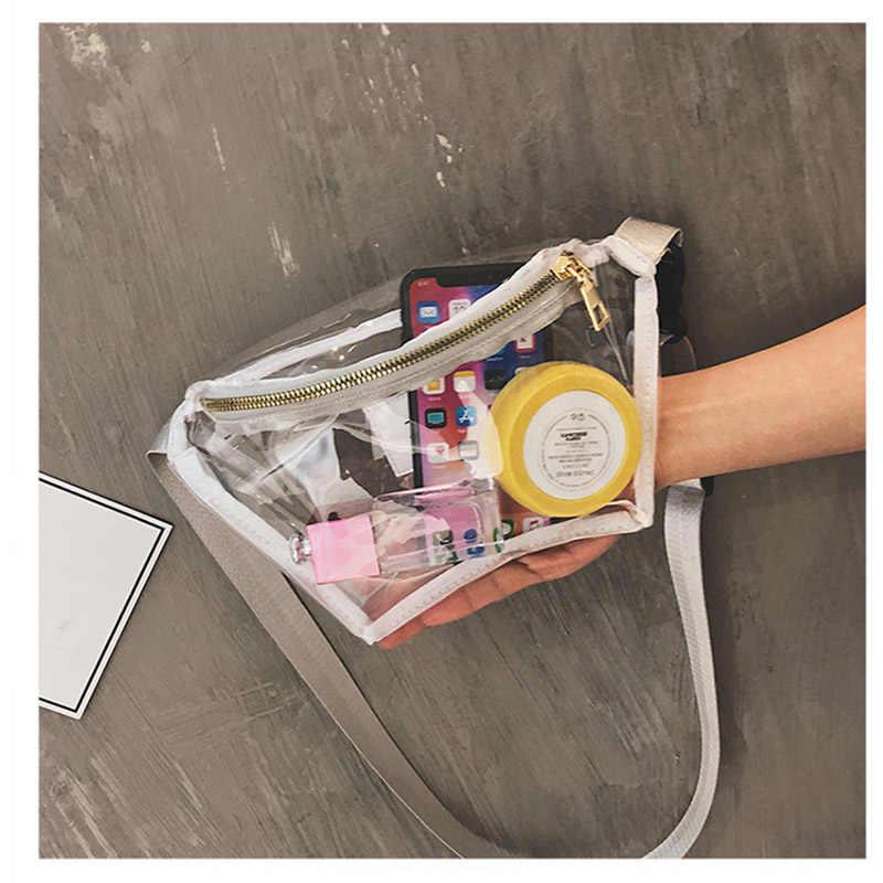 Mùa hè Trong Suốt Eo Túi Rõ Ràng PVC Fanny Gói Cô Gái Trẻ Du Lịch Không Thấm Nước Ngực Túi Nhựa Giản Dị Bum Bag 030206