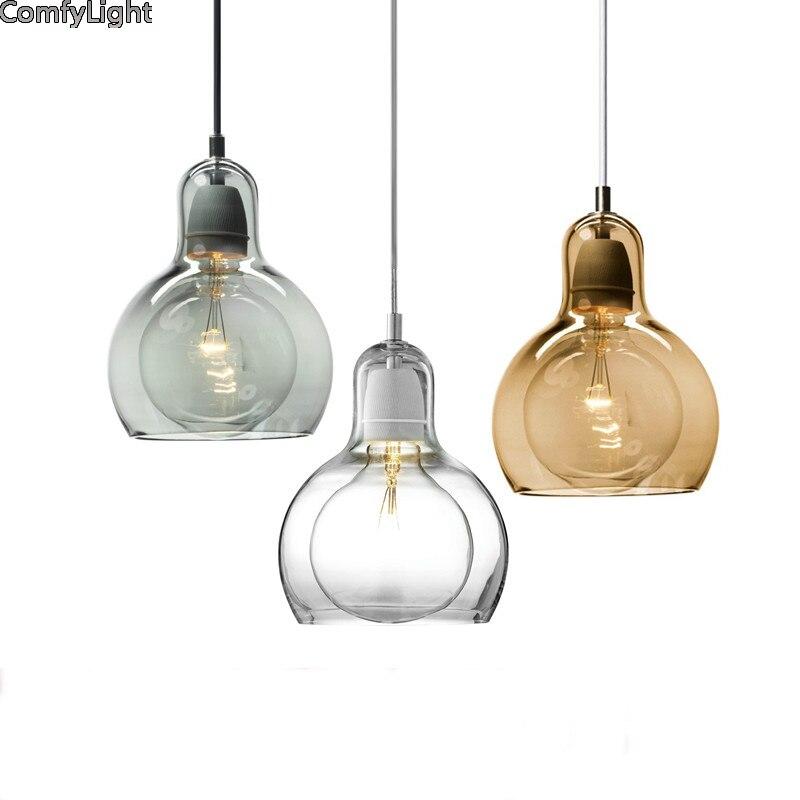 Vintage pendentif lumières américain ambre verre pendentif lampe E27 Edison lumière ampoule salle à manger cuisine décor à la maison planétarium lampe - 6
